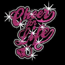 Pink Cheer for Life ISS Show Heat Press Rhinestone Glitter Transfer Motif