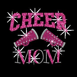 Pink Cheer Mom Iron-on Rhinestone Glitter Design