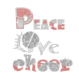 Peace Love Cheer Hotfix Crystal Design