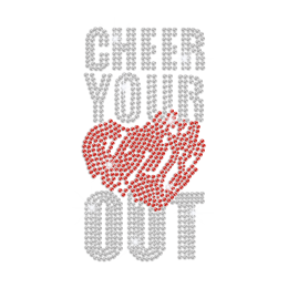 Cheer Your Heart Out Iron on Rhinestone Transfer Motif