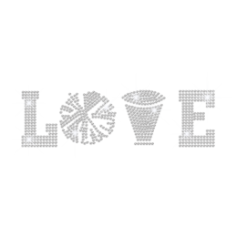 Crystal I Love Cheer Iron on Rhinestone Transfer Motif