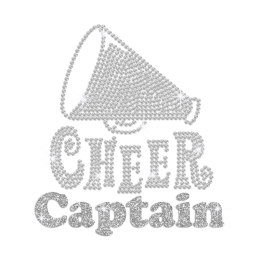 Crystal Cheer Captain Iron on Rhinestone Transfer Motif
