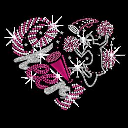 Glittering Cheerleader Cheer Heart Design Holofoil Rhinestone Iron On