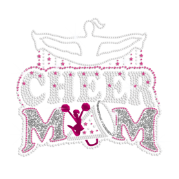 Jumping Cheer Mom Iron on Holofoil Glitter Rhinestone Transfer Decal
