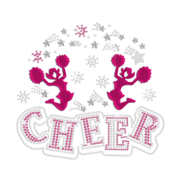 Holofoil Cheer Girls Iron on Nailhead Rhinestone Transfer Decal
