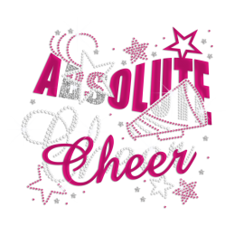 Glittering Holofoil Absolute Cheer Iron on Rhinestone Transfer Motif