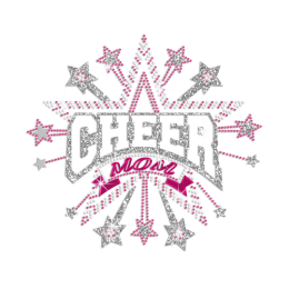 Glittering Holofoil Cheer Mom Iron on Rhinestone Transfer Motif