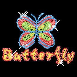 Rainbow Butterfly Rhinestone Iron on Design for Kids