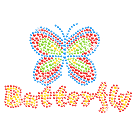 Rainbow Butterfly Rhinestone Iron on Design for Kids