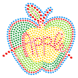 Colorful Apple Rhinestone Hotfix Transfer for Children