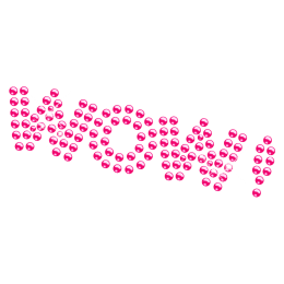 Hot Pink Lettering Rhinestone Iron on Motif for Kids