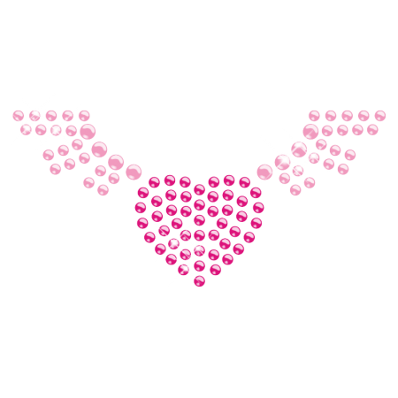 Heart with Wings Hot Fix Crystal Motif for Kids