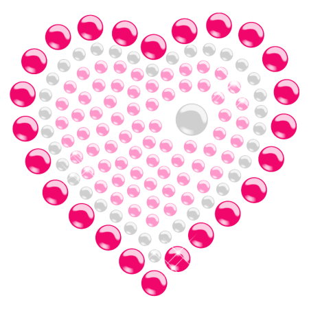 Pink Crystal Heart Iron ons for Kids