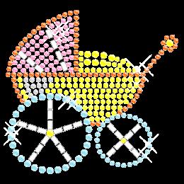 Colorful Baby Trolley Iron on Rhinestone Transfer