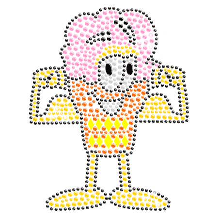 Ice Cream Man 2013 Iron on Rhinestone Motif