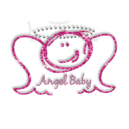 Best Custom Sparkling Pink Angel Baby Rhinestone Iron on Transfer Design for Clothes