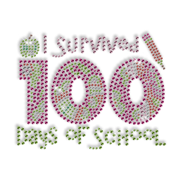 Best Custom Sparkling I Survived 100 Days of School Rhinestone Iron on Transfer Design for Clothes
