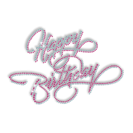 Happy Birthday in Blue and Pink Rhinestud Iron on Transfer
