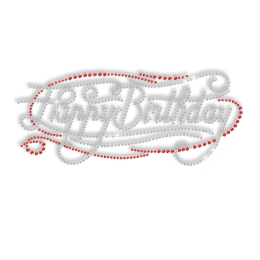 Happy Birthday in Crystal and Red Rhinestone Iron on Motif