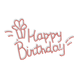 Pure Red Happy Birthday Hotfix Rhinestone Motif