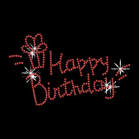 Pure Red Happy Birthday Hotfix Rhinestone Motif