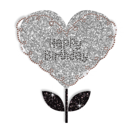 Happy Birthday Love Flower Hotfix Bling Transfer