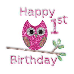 Happy 1st  Birthday and Cute Owl Iron on Bling Transfer