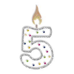 Bright Candle for the Fifth Birthday Hotfix Bling Motif