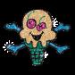Customized Hotfix Glitter Motif Creepy Skull Ice Cream
