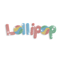 Colorful Words of Lollipop Rhinestone Iron ons