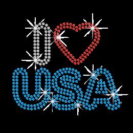 I Love USA Words Bling Transfer
