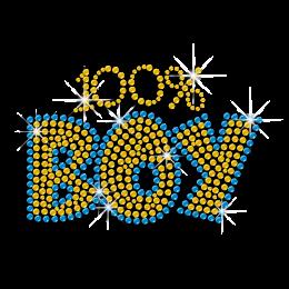Hotfix Bling One Hundred Boy Words Design