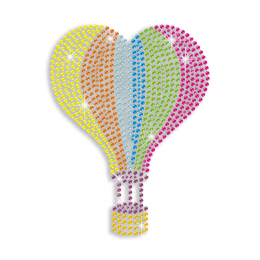 Colorful Bling Fire Balloon Iron on Rhinestone Transfer Motif