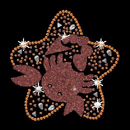 2015 Scorpio Sign of Zodiac Iron on Glitter Rhinestone Transfer