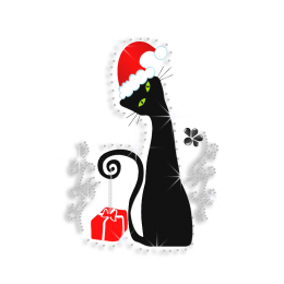 Cute Black Cat Bring Christmas Present Rhinestone Heat Transfer
