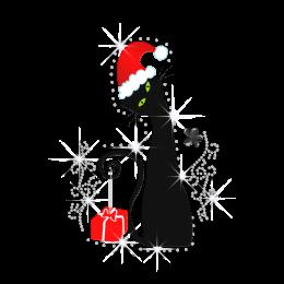 Cute Black Cat Bring Christmas Present Rhinestone Heat Transfer