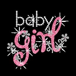 Vegas Show Cute Baby Girl Nailhead Glitter Iron on Transfer