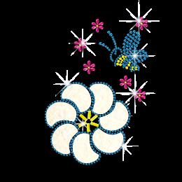 Kid Show Flowers & Bee Nailhead Glitter Iron on Transfer