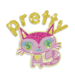 Kid Show Cute Kitty Cat Neon Rhinestud Glitter Iron-on Transfers