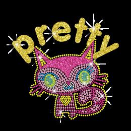 Kid Show Cute Kitty Cat Neon Rhinestud Glitter Iron-on Transfers