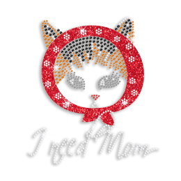 Kid Show Cute Kitty I Need Mom Nailhead Glitter Iron-on Transfer