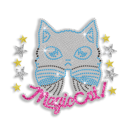 Kid Show Colorful Magic Cat Iron-on Rhinestone Transfer