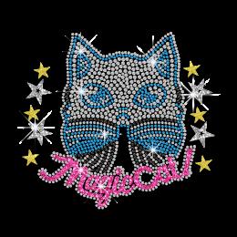 Kid Show Colorful Magic Cat Iron-on Rhinestone Transfer