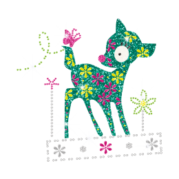 Kid Show Colorful Cute Deer & Butterfly Iron-on Transfer