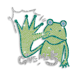 Kid Show Green Frog Hand Give Me Five Iron-on Nailhead Glitter Transfer