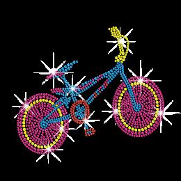 Colorful Bicycle Iron-on Rhinestone Transfer