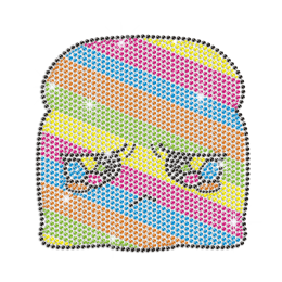 Multicolored and Teary Bread Iron on Rhinestone Transfer