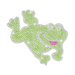 A Lively Jumping Frog Iron on Rhinestone Transfer