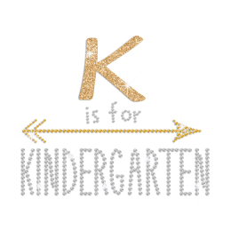 K Is for Kindergarten Iron on Glitter Rhinestone Transfer Decal