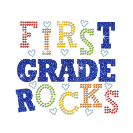 Glittering First Grade Rocks Iron on Rhinestone Transfer Motif